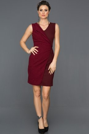 Short Plum Evening Dress ABK007
