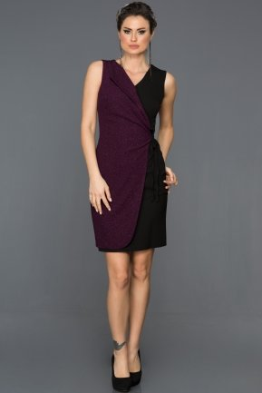 Short Black-Purple Evening Dress ABK007