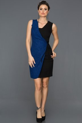 Short Black-Sax Blue Evening Dress ABK007
