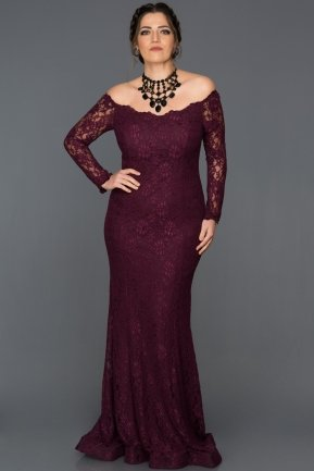 Long Claret Red Plus Size Dress AN5009