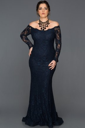 Long Navy Blue Plus Size Dress AN5009