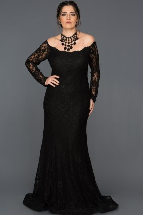 Long Black Plus Size Dress ABU011