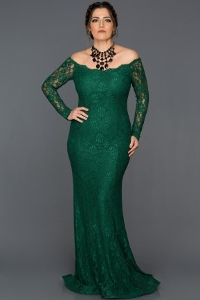 Long Emerald Green Plus Size Dress AN5009