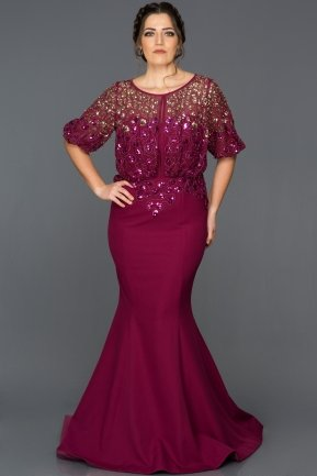 Long Violet Plus Size Evening Dress ABU222