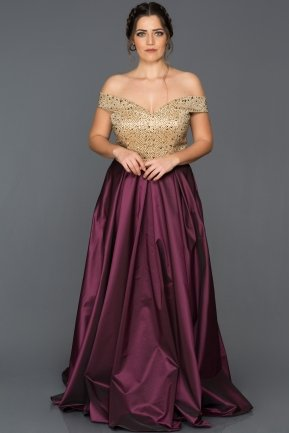 Long Gold-Plum Oversized Evening Dress GG6858