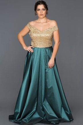 Long Gold-Oil Green Oversized Evening Dress GG6858