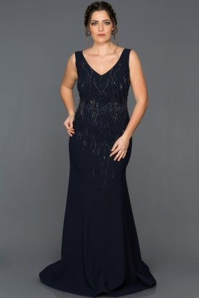 Long Navy Blue Plus Size Evening Dress AB7061