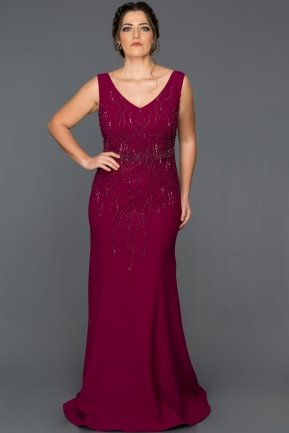 Long Plum Plus Size Evening Dress AB7061