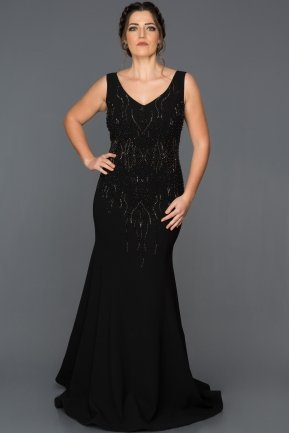 Long Black Plus Size Evening Dress ABU062