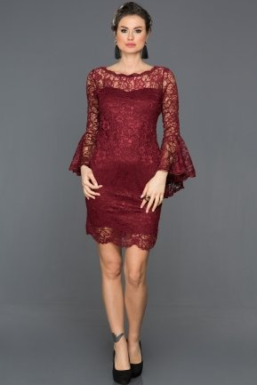 Short Burgundy Invitation Dress AR38152