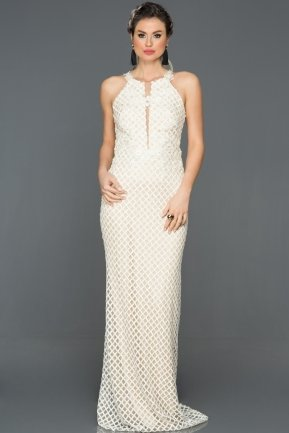 Long White Engagement Dress ABU162
