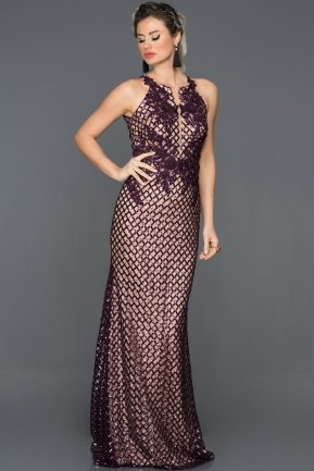 Long Plum Engagement Dress CP4259