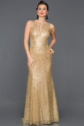 Long Gold Engagement Dress CP4263