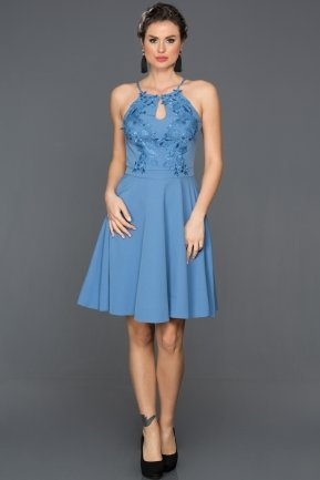 Short Blue Invitation Dress DS503