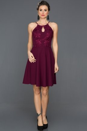 Short Plum Invitation Dress DS503