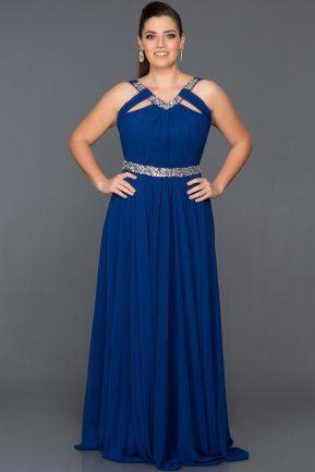 Long Sax Blue Oversized Evening Dress GGB6938