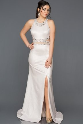 Long Ecru-Powder Color Mermaid Prom Dress ABU211