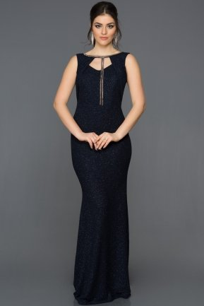 Long Navy Blue Mermaid Prom Dress ABU073