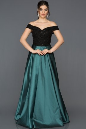 Long Black-Oil Green Evening Dress GG6858