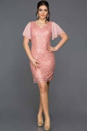 Short Rose Colored Evening Dress AB98854
