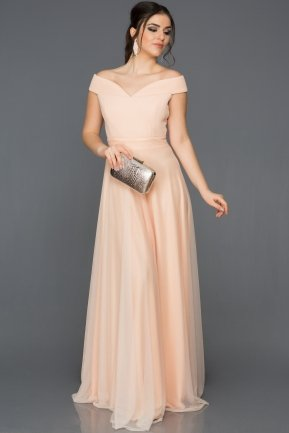 Long Salmon Evening Dress AB3067