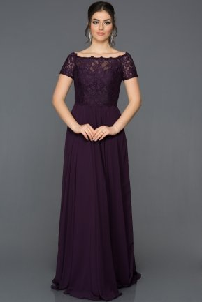 Long Purple Evening Dress T3071