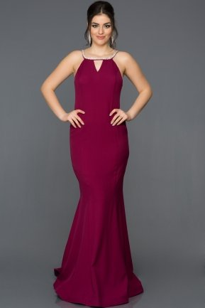 Long Plum Mermaid Evening Dress AB3324