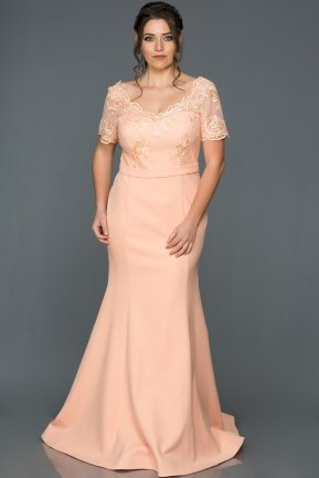 Long Salmon Plus Size Dress AN2492