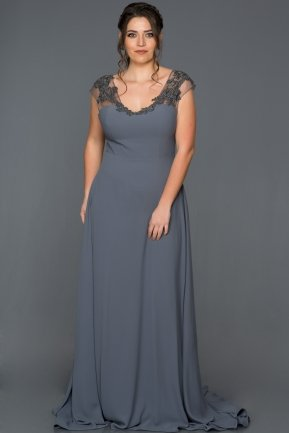 Long Grey Plus Size Evening Dress AN5014