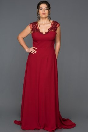 Long Burgundy Plus Size Evening Dress ABU124