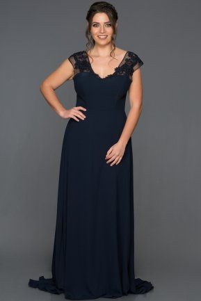 Long Navy Blue Plus Size Evening Dress AN5014