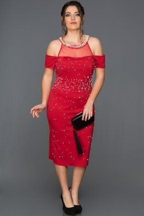 Red Plus Size Evening Dress AR37050