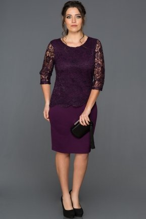 Short Purple Plus Size Evening Dress AB38209
