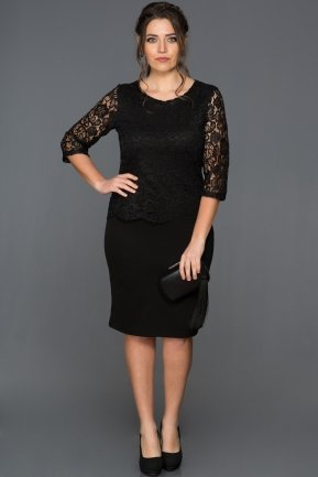 Short Black Plus Size Evening Dress ABK057