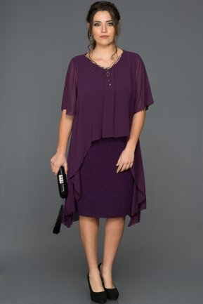 Short Purple Plus Size Evening Dress ABK063