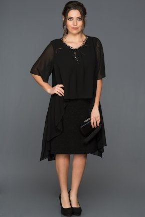 Short Black Plus Size Evening Dress ABK063