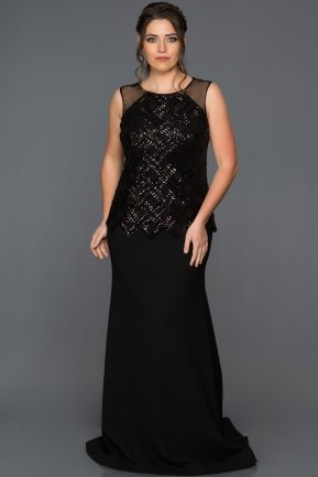 Long Black Plus Size Evening Dress ABU279