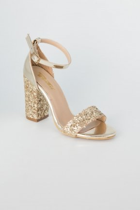 Gold Silvery Evening Shoes AB1004