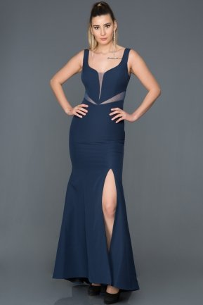 Long Navy Blue Prom Gown ABU066