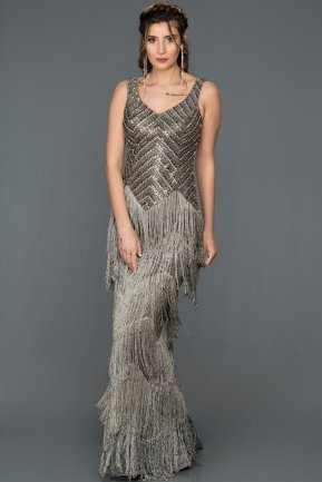 Long Anthracite Engagement Dress ABU219