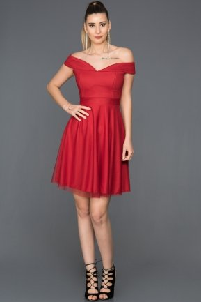 Short Red Invitation Dress AB3360