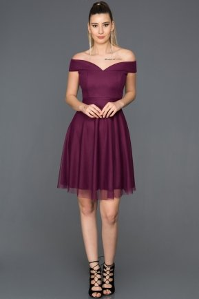 Short Plum Invitation Dress AB3360