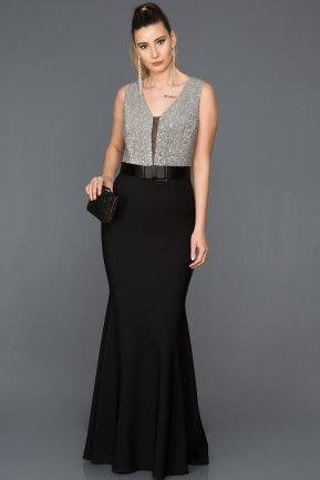 Long Black-Silver Mermaid Prom Dress ABU134