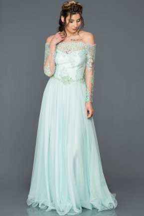 Long Mint Princess Evening Dress AB621