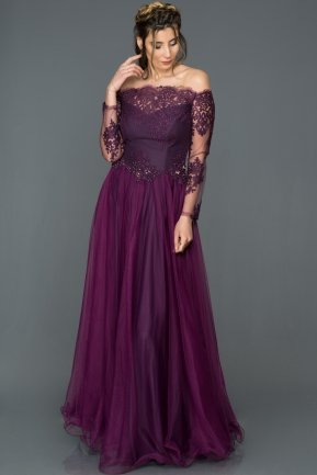 Long Purple Princess Evening Dress AB621