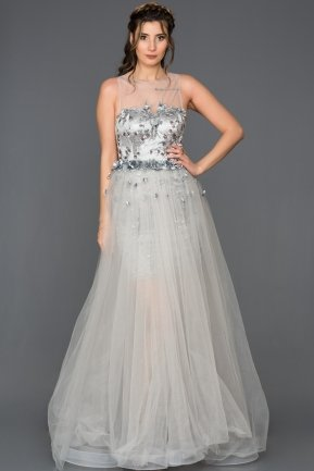 Long Grey Engagement Dress CR6072