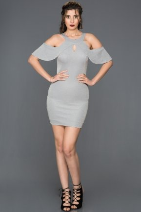 Short Grey Evening Dress DS438