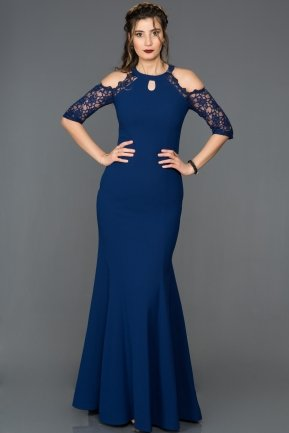 Long Navy Blue Mermaid Prom Dress ABU129