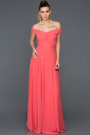 Long Coral Evening Dress AB1163