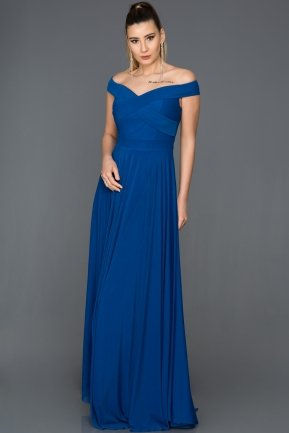 Long Sax Blue Evening Dress ABU008